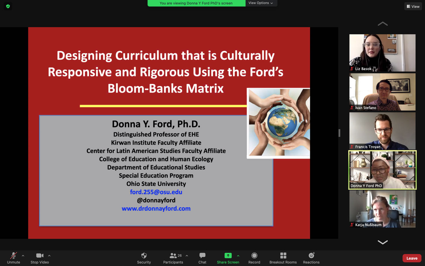 screenshot of presentation on designing curriculum that is a culturally responsive and rigorous