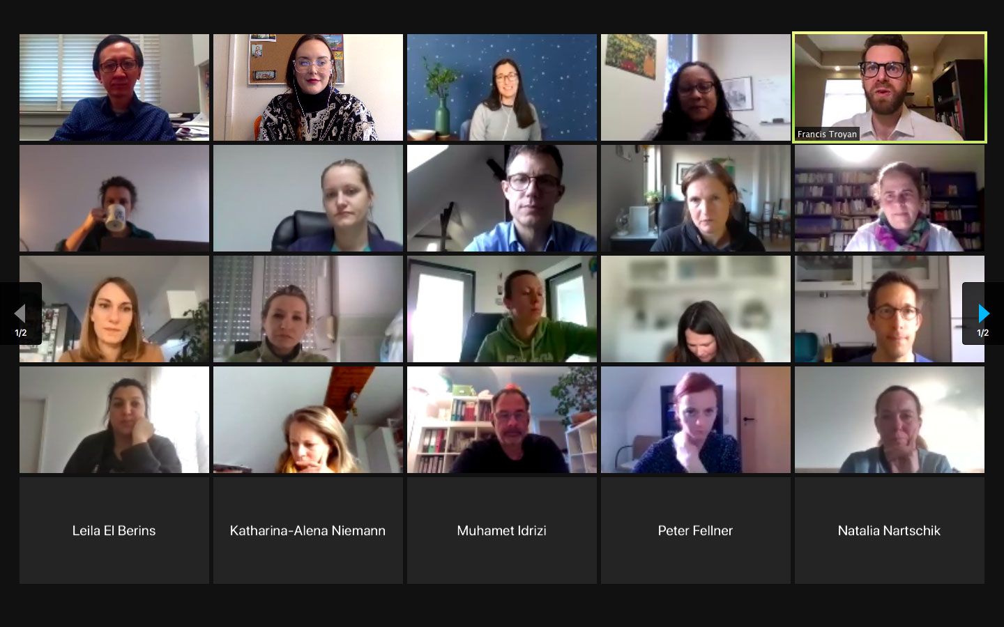 screenshot of group on zoom for fulbright germany